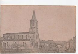 CPA.A Identifié.Village Avec Eglise Et Deux Personnages. - Cartoline