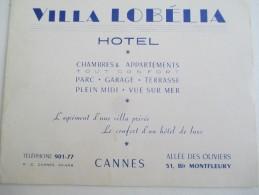 Carte Commerciale/Villa Lobélia/Hotel/Allée Des Oliviers/Bd Montfleury/CANNES/Vers 1930-1950    CAC15 - Cartes De Visite