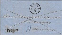 "1857-letter From SMYRNE  + "" FRANCO "" To Amsterdam  -voie Terrestre - Turkey"