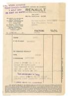 Facture Renault Alger, Dauphine 1958 - Automobile