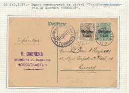 Entier Postal Germania HOOGSTRAETEN 1917 - Censure TURNHOUT- Cachet Daenens , Géomètre Au Cadastre   -- WW789 - WW I