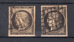 FRANCE : N° 4 . TYPE CERES .2 EX . 1 SUR CHAMOIS . SIGNE CALVES . 1 NOIR SUR FAUVE . SIGNE BRUN . LEGERS DEFAUTS . 1849 - Marcophilie (Timbres Détachés)
