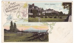 Vancouver Washington, Fort Vancouver Parade Ground & Officer's Quarters, C1900s Vintage Postcard - Vancouver
