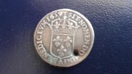 1/12 Ecu Au Buste Juvénile 1659 A Louis XIV - Percé - 987-1789 Könige