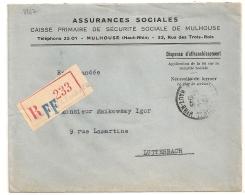 MULHOUSE PRINCIPAL  Haut Rhin Sur Enveloppe Recommandée En FRANCHISE. 1949 - Handstempels