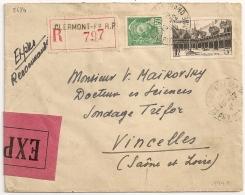 CLERMONT FERRAND Puy De Dome,  Sur Enveloppe Recommandée ESPRESS. Etiquette ROSE.  1941. - Postmark Collection (Covers)