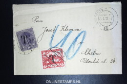 Czechoslovakia Cover 1919  Taxed Mixed Stamps + Tax Austrian Stamp