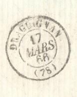 VAR 83 DRAGUIGNAN LAC TAD 15 17/03/1866 GC 1349 Sur N° 22 TTB - Postmark Collection (Covers)