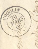 VAR 83 COGOLIN LAC TAD 15 20/03/1866 GC 1067 Sur N° 22 TTB - Marcophilie (Lettres)