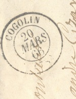 VAR 83 COGOLIN LAC TAD 15 20/03/1866 GC 1067 Sur N° 22 TTB - Poststempel (Briefe)