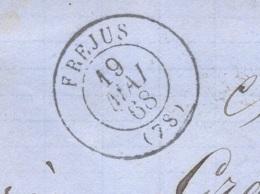 VAR 83 FREJUS LAC TAD 15 19/05/1868 GC 1583 Sur N° 22 TTB - Storia Postale