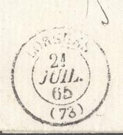 VAR 83 LORGUES LAC TAD 15 21/07/1865 GC 2083 Sur N° 22 TTB - Storia Postale