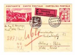 Schweiz Ganzsache Bildpostkarte 20Rp #130.006 Baden 28.9.1932 Exprès Nach Milano - Entiers Postaux