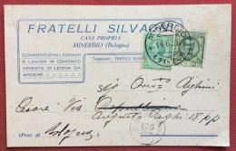 MINERBIO BOLOGNA 1928 CARTOLINA PUBBLICITARIA FRATELLI SILVANI  COMMERCIO LEGNAMI - Werbepostkarten