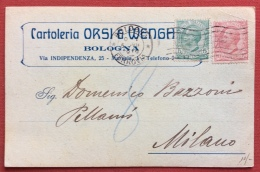 BOLOGNA 1919 CARTOLINA PUBBLICITARIA  CARTOLERIA ORSI E  WENGA  CON FIRMA AUTOGRAFA - Werbepostkarten