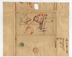 1836- Lettre De MONS Pour La France Entrée Par Valenciennes + L.P.B.1.R Rouge (lettre Pays Bas 1er Rayon - 1830-1849 (Belgique Indépendante)