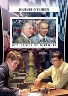DJIBOUTI 2016 - Chess: Karpov, Kasparov, Carlsen, Anand S/S. Official Issue - Schaken