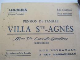 Carte Commerciale/Pension De Famille/ Villa Sainte Agnés/Latreille-Gardéres/LOURDES/Vers 1920-1930   CAC16 - Cartes De Visite
