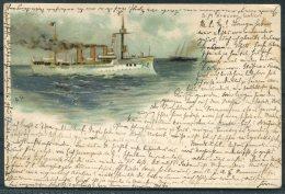 Litho S.M. Kreuzer Gefion Warship Postcard - Warships