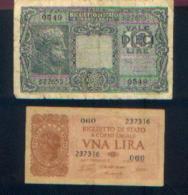 ITALIE - Lot De 2 Billets : 1 Lire 1944 + 10 Lires 1944 - [ 2] 1946-… : République