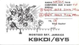Amateur Radio QSL Card - K9KDI/6Y5 - Montego Bay, Jamaica - 1975 - Radio Amateur