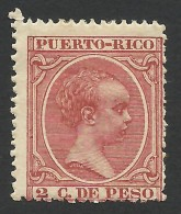 Puerto Rico, 2 C. 1892, Sc # 100, MH - Puerto Rico