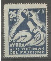 Viñeta De 25cts Ayuda A Las Victimas Del Fascimo - Viñetas De La Guerra Civil