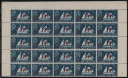 St Pierre Et Miquelon MNH Scott #314 Full Sheet Of 50 50c Surcharge On 5c Schooner - Has Been Folded Along Center Perfs - Blocs-feuillets