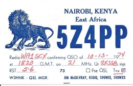 Amateur Radio QSL Card - 5Z4PP - Nairobi, Kenya AFRICA - 1974 - Amateurfunk