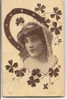 L25C040 - Portrait De Femme Avec Un Fer à Cheval Et Des Trèfles à Quatre Feuilles .... - MSJ  N°5002 - Women