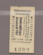(DH4) Pappfahrkarte Deutschland (DDR Reichsbahn)-->  Teilwochenkarte Niederwillingen - Arnstadt - Treni