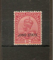INDIA - JIND 1930 12a SG 97 WATERMARK UPRIGHT UNMOUNTED MINT  Cat £30 - Jhind