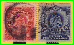 MEXICO  ( AMERICA )  2  SELLOS  AÑO 1899 VALOR  4 Y 5  CENTAVOS - México