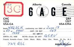 Amateur Radio QSL Card - 3C6AGE - Alberta CANADA - 1967 - 2 Scans - With Stamp - Radio Amateur