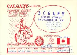 Amateur Radio QSL Card - 3C6AFY - Alberta CANADA - 1967 - 2 Scans - With Stamp - Radio Amateur