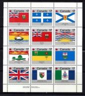 CANADA, 1979, #832a, PROVINCIAL & TERRITORIAL FLAGS, LL INSCRIPTION,  M NH - Feuilles Complètes Et Multiples