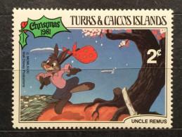 NEW/UNUSED/MINT RARE WALT DISNEY 1981 2 CENT TURKS&CALCOS ISLAND UNCLE REMUS STAMP - Disney