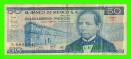 MEXIQUE - EL BANCO DE MEXICO S.A. - CINCUENTA PESOS -  1981 SERIE JZ No Y 8893347 - Mexique