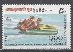 Kampuchea 1983. Scott #444 (MNH) Winter Olympic Games Sarajevo, Two-man Bobsled - Kampuchea