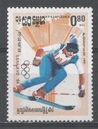 Kampuchea 1984. Scott #464 (MNH) Winter Olympic Games Sarajevo, Slalom Skiing - Kampuchea