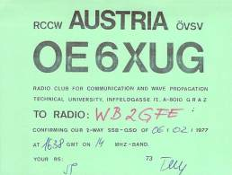 Amateur Radio QSL Card - OE6XUG Radio Club - Univ Infeldgasse, Austria - 1977 - Radio Amateur