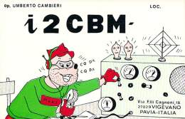 Amateur Radio QSL Card - I2CBM - Pavia, Italy - 1977 - 2 Scans - Radio Amateur