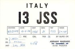 Amateur Radio QSL Card - I3JSS - Padova, Italy - 1978 - Radio Amateur