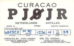 Amateur Radio QSL Card - PJ0JR - Curacao, Netherland Antilles - 1975 - 2 Sides - Radio Amateur