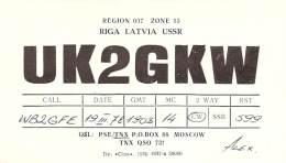 Amateur Radio QSL Card - UK2GKW - Riga, Latvia USSR - 1978 - Radio Amateur