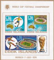 Cook Islands SG MS491 1974 World Cup Football Miniature Sheet MNH - Cook