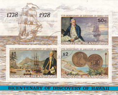 Cook Islands SG MS587 1978 Capt Cook Bicentenary Of Discovery Of Hawaii Miniature Sheet Used - Cook Islands