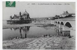 (RECTO / VERSO) NICE EN 1914 - N° 518 - LA JETEE PROMENADE ET LE PONT DES ANGES AVEC PERSONNAGES -  CPA - Monuments
