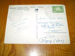 Timbre & Cachet XV Jeux Olympiques D'Helsinki 1952 Sur Carte Gare & Poste , Railway Station & Post Office, Finlande