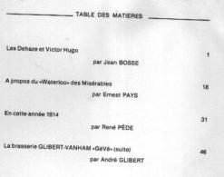 « BRAINE-L'ALLEUD Et Son Histoire » Fascicule 16 - Ed. Association Du Musée De B-L'A. (1986) - Table Des Matières -----> - Culture
